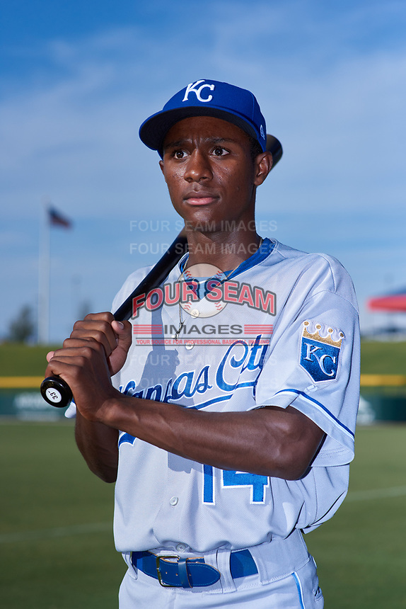AZL Royals Tyler Tolbert (14) poses for a photo before an Arizona League game against the AZL Cubs 1 on June 30, 2019 at Sloan Park in Mesa, Arizona. AZL Royals defeated the AZL Cubs 1 9-5. (Zachary Lucy / Four Seam Images)