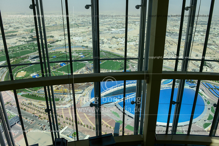 QATAR, Doha, construction site Sportpark Aspire Academy for Sports Excellence for FIFA world cup 2022 / KATAR, Doha, Baustelle Sportpark Aspire Academy for Sports Excellence fuer die  FIFA Fussballweltmeisterschaft 2022, auch Trainingscamp des FC Bayern, Blick vom Aspire Tower