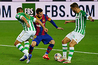 7th November 2020; Camp Nou, Barcelona, Catalonia, Spain; La Liga Football, Barcelona versus Real Betis;  Leo Messi cuts inside Ruiz of Betis