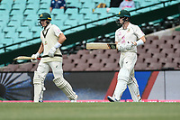 8th January 2021; Sydney Cricket Ground, Sydney, New South Wales, Australia; International Test Cricket, Third Test Day Two, Australia versus India; Marnus Labuschagne and Steve Smith of Australia walk onto the field at start of play