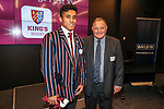 Noah Perelini and John Bayley. Kings College 1st XV Jersey Presentation at Bayleys Real Estate Head Office, Viaduct Harbour, Auckland, New Zealand. Wednesday 3 May 2017. Photo: Simon Watts/www.bwmedia.co.nz for Kings College