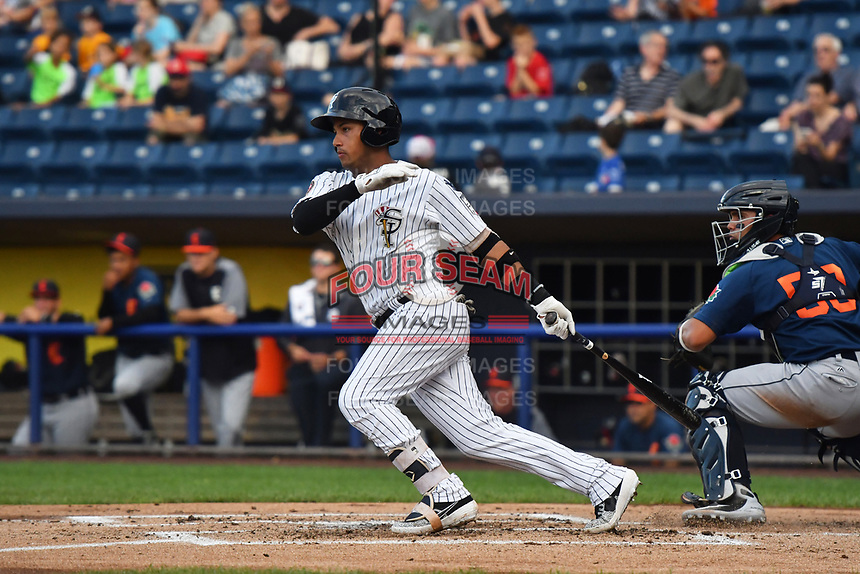 Staten Island Yankees Everson Pereira (22) at bat during a NY-Penn League game against the Connecticut Tigers on June 20, 2019 at Richmond County Bank Ballpark in Staten Island, New York.  Connecticut defeated Staten Island 5-2.  (Robert Pimpsner/Four Seam Images)