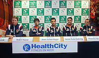 08-02-12, Netherlands,Tennis, Den Bosch, Daviscup Netherlands-Finland, Training, v.l.n.r.: Captain Jan Siemerink, kopman Robin Haase, debutant Jeam-Jelien Rojer, Jesse Huta Galung en Thiemo de Bakker.