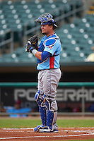 Tennessee Smokies catcher Kyle Schwarber (12) during a game against the Montgomery Biscuits on May 25, 2015 at Riverwalk Stadium in Montgomery, Alabama.  Tennessee defeated Montgomery 6-3 as the game was called after eight innings due to rain.  (Mike Janes/Four Seam Images)