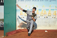 Augusta GreenJackets starting pitcher Jason Bahr (32) warms up in the bullpen prior to the game against the Greensboro Grasshoppers at First National Bank Field on April 10, 2018 in Greensboro, North Carolina.  The GreenJackets defeated the Grasshoppers 5-0.  (Brian Westerholt/Four Seam Images)