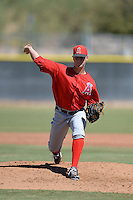 Los Angels Angels of Anaheim pitcher Ben Carlson (55) during an instructional league game against the Colorado Rockies on September 30, 2013 at Tempe Diablo Stadium Complex in Tempe, Arizona.  (Mike Janes/Four Seam Images)