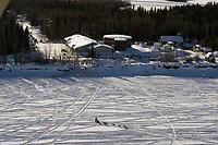 Aerial of Team Leaving McGrath Chkpt Kuskokwim River 2005 Iditarod