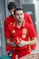 Pedro Rodriguez (r) and Mikel San Jose during Spanish national football team stage. March 22,2016. (ALTERPHOTOS/Acero)