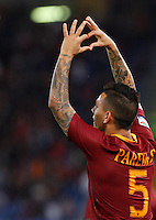 Calcio, Serie A: Roma vs Palermo. Roma, stadio Olimpico, 23 ottobre 2016.<br /> Roma's Leandro Paredes celebrates after scoring during the Italian Serie A football match between Roma and Palermo at Rome's Olympic stadium, 23 October 2016. Roma won 4-1.<br /> UPDATE IMAGES PRESS/Riccardo De Luca