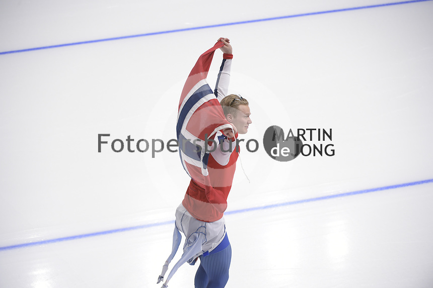 OLYMPIC GAMES: PYEONGCHANG: 19-02-2018, Gangneung Oval, Long Track, 500m Men, Olympic champion Havard Lorentzen (NOR), ©photo Martin de Jong
