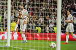 Real Madrid´s Karim Benzema and Alvaro Arbeloa celebrates a goal during 2014-15 Champions League match between Real Madrid and FC Shalke 04 at Santiago Bernabeu stadium in Madrid, Spain. March 10, 2015. (ALTERPHOTOS/Luis Fernandez)