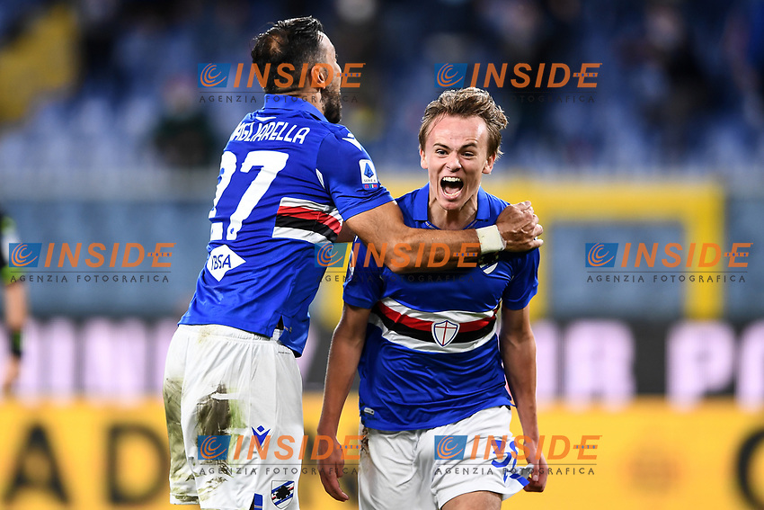 Mikkel Damsgaard of UC Sampdoria celebrates with Fabio Quagliarella after scoring the goal of 3-0 during the Serie A football match between UC Sampdoria and SS Lazio at stadio Marassi in Genova (Italy), October 17th, 2020. <br /> Photo Image Sport / Insidefoto