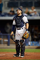 Charlotte Stone Crabs catcher Brett Sullivan (8) during a game against the Palm Beach Cardinals on April 11, 2017 at Charlotte Sports Park in Port Charlotte, Florida.  Palm Beach defeated Charlotte 12-6.  (Mike Janes/Four Seam Images)