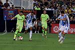 CD Leganes's Youssef En-Nesyri and FC Barcelona's Munir El Haddadi during La Liga match between CD Leganes and FC Barcelona at Butarque Stadium in Madrid, Spain. September 26, 2018. (ALTERPHOTOS/A. Perez Meca)