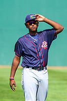 Cedar Rapids Kernels first baseman Lewin Diaz (48) warms up prior to a Midwest League game against the Beloit Snappers on September 3, 2017 at Pohlman Field in Beloit, Wisconsin. Beloit defeated Cedar Rapids 3-2. (Brad Krause/Four Seam Images)