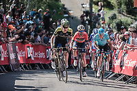 Jack Haig (AUS/Mitchelton Scott) and Vicenzo Nibali (ITA/Bahrain Merida) setting the pace while the 2nd run up of the infamous Mur de Huy. <br /> <br /> 82nd La Flèche Wallonne 2018<br /> 1 Day Race: Seraing - Huy (198,5km)