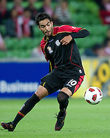 MELBOURNE, AUSTRALIA - NOVEMBER 19: Marcos Flores of Adelaide in action during the round 15 A-League match between the Melbourne Heart and Adelaide United at AAMI Park on November 19, 2010 in Melbourne, Australia (Photo by Sydney Low / Asterisk Images)