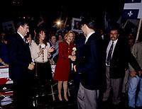 FILE -  Lucien Boucahrd et son epouse Audrey Best regarde Mario Dumont serrant la main de Lisette Lapointe lorsque <br /> Les partisans du OUI  tiennent un grand rassemblement a l'auditorium de Verdun (date exacte inconnue)<br /> <br /> PHOTO : Agence Quebec Presse