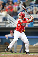 Batavia Muckdogs first baseman Eric Fisher (33) at bat during a game against the Mahoning Valley Scrappers on June 20, 2014 at Dwyer Stadium in Batavia, New York.  Batavia defeated Mahoning Valley 7-4.  (Mike Janes/Four Seam Images)