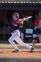 Jake Kennedy (30) of the Shippensburg Raiders follows through on his second home run of the game against the Belmont Abbey Crusaders at Abbey Yard on February 8, 2015 in Belmont, North Carolina.  The Raiders defeated the Crusaders 14-0.  (Brian Westerholt/Four Seam Images)
