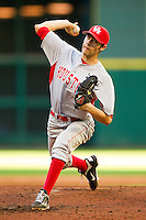 Starting pitcher Aaron Garza #21 of the Houston Cougars in action against the Texas Tech Red Raiders at Minute Maid Park on March 4, 2012 in Houston, Texas.  The Red Raiders defeated the Cougars 10-4.  Brian Westerholt / Four Seam Images