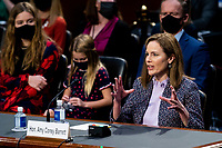 Judge Amy Coney Barrett, nominee to be Associate Justice of the Supreme Court, testifies during her confirmation hearing in the Senate Judiciary Committee on Wednesday, Oct. 14, 2020.<br /> CAP/MPI/RS<br /> ©RS/MPI/Capital Pictures