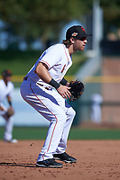 Scottsdale Scorpions third baseman Taylor Sparks (6), of the Cincinnati Reds organization, during an Arizona Fall League game against the Surprise Saguaros on October 27, 2017 at Scottsdale Stadium in Scottsdale, Arizona. The Scorpions defeated the Saguaros 6-5. (Zachary Lucy/Four Seam Images)