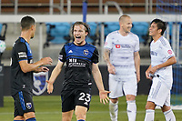 SAN JOSE, CA - NOVEMBER 4: Florian Jungwirth #23 of the San Jose Earthquakes celebrates during a game between Los Angeles FC and San Jose Earthquakes at Earthquakes Stadium on November 4, 2020 in San Jose, California.