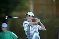 Max Perkins, with Siloam Springs High School, tees off on the first hole of play Tuesday, August 18, 2020, during the Springdale Bulldog Invitational boys golf tournament at the Springdale Country Club. Check out nwaonline.com/200819Daily/ and nwadg.com/photos for a photo gallery.<br /> (NWA Democrat-Gazette/David Gottschalk)