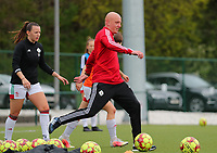 Assistant coach Arno Van Den Abbeel of OHL pictured during the warm up before a female soccer game between Oud Heverlee Leuven and Standard femina de liege on the 5 th matchday of play off 1 in the 2020 - 2021 season of Belgian Womens Super League , saturday 8 th of May 2021  in Heverlee , Belgium . PHOTO SPORTPIX.BE | SPP | SEVIL OKTEM