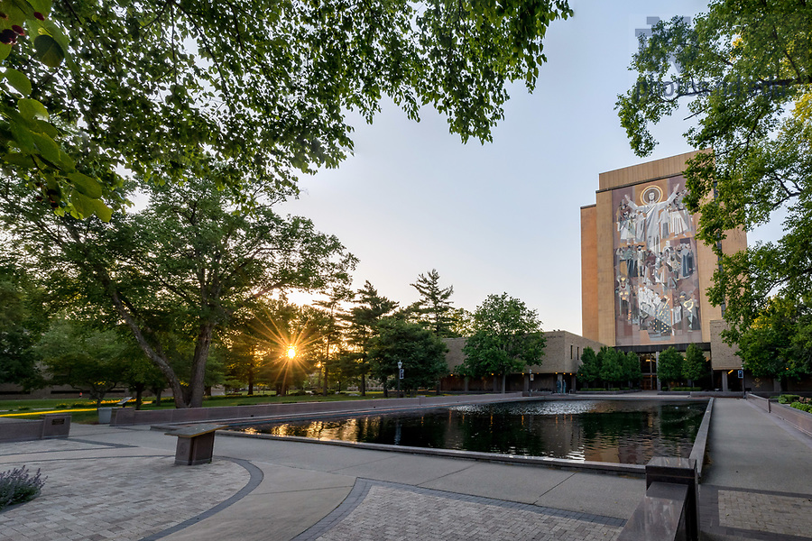 June 20, 2017; Hesburgh Library Reflecting pool (Photo by Matt Cashore/University of Notre Dame)