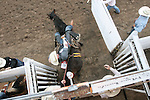 CHAD PILSTER •Hays Daily News<br /> <br /> Brian Leddy rides a bronc on Monday, July 29, 2013, during the Graham County fair and Jayhawker Roundup Rodeo in Hill City, Kansas. Leddy scored a 74.