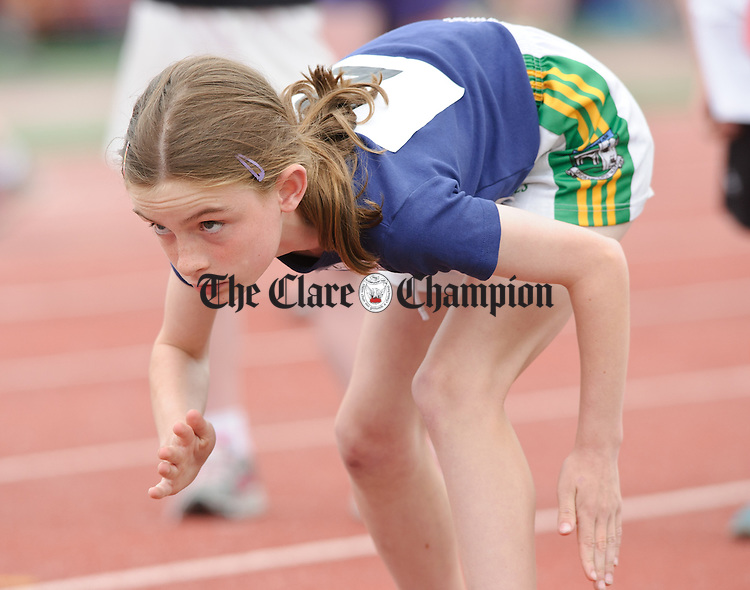 Neasa Ni Ainifein of Ruan gets set for her start at the  Clare Community Games Athletic Finals in Lees Road, Ennis. photograph by John Kelly.