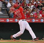 Torii Hunter of the Los Angeles Angels swings hard.