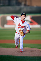 Peoria Chiefs starting pitcher Mike O'Reilly (38) delivers a pitch during a game against the West Michigan Whitecaps on May 9, 2017 at Dozer Park in Peoria, Illinois.  Peoria defeated West Michigan 3-1.  (Mike Janes/Four Seam Images)