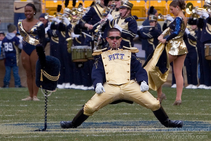 Pitt drum major Paul Bowers performs before the game. The Pitt Panthers defeat the Rutgers Scarlet Knights 27-6 on Saturday, November 24, 2012 at Heinz Field , Pittsburgh, PA.