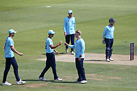 Simon Harmer of Essex celebrates with his team mates after taking the wicket of Scott Currie during Hampshire Hawks vs Essex Eagles, Royal London One-Day Cup Cricket at The Ageas Bowl on 22nd July 2021