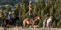 Cowgirl showing off standing on her horse. Fine Art Limited Edition Photography Of American Cowboys and Cowgirls by Jess Lee