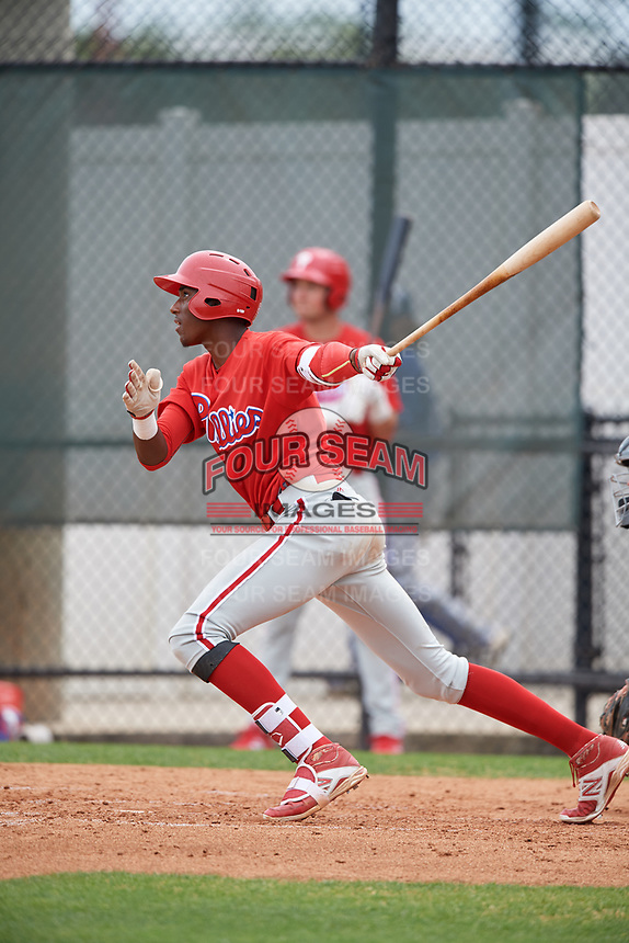 Philadelphia Phillies Carlos De La Cruz (53) during a Minor League Spring Training game against the Toronto Blue Jays on March 30, 2018 at Carpenter Complex in Clearwater, Florida.  (Mike Janes/Four Seam Images)