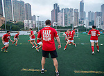 Team warm up prior to Canada vs Japan during the Day 3 of the IRB Junior World Rugby Trophy 2014 at the Hong Kong Football Club on April 15, 2014 in Hong Kong, China. Photo by Aitor Alcalde / Power Sport Images