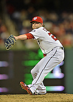 20 September 2012: Washington Nationals pitcher Drew Storen closes out the game against the Los Angeles Dodgers at Nationals Park in Washington, DC. The Nationals defeated the Dodgers 4-1, clinching a playoff birth: the first time for a Washington franchise since 1933. Mandatory Credit: Ed Wolfstein Photo