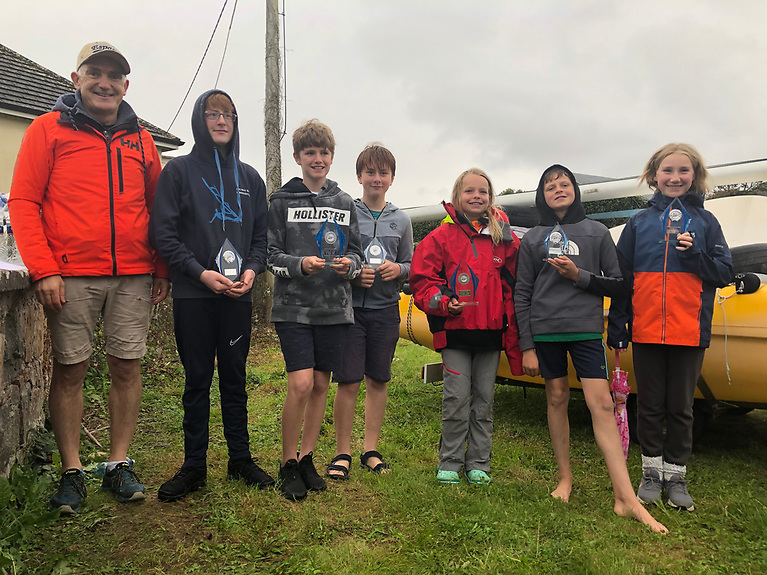 All the Oppie prize winners with CSS commodore Dave Cahill ( from left) GBSC sailors Sean Lemonnier, Rian Baynes, Killian Mathieu and CSS sailors Sarah Donald, Patrick Halliday and Realtin Boinnard