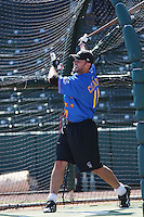 Modesto Nuts infielder James Cesario of the California League All- Stars taking batting practice before the California League vs. Carolina League All-Star game held at BB&T Coastal Field in Myrtle Beach, SC on June 22, 2010.  The California League All-Stars defeated the Carolina League All-Stars by the score of 4-3.  Photo By Robert Gurganus/Four Seam Images
