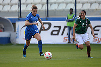20190227 - LARNACA , CYPRUS : Italian forward Cristiana Girelli (left) and Mexican defender Kenti Robles (right) pictured during a women's soccer game between Mexico and Italy , on Wednesday 27 February 2019 at the Antonis Papadopoulos Stadium in Larnaca , Cyprus . This is the first game in group B for both teams during the Cyprus Womens Cup 2019 , a prestigious women soccer tournament as a preparation on the FIFA Women's World Cup 2019 in France and the Uefa Women's Euro 2021 qualification duels. PHOTO SPORTPIX.BE | STIJN AUDOOREN