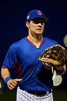 AZL Cubs 2 center fielder Jose Cardona (20) jogs off the field between innings of an Arizona League game against the AZL Dbacks on June 25, 2019 at Sloan Park in Mesa, Arizona. AZL Cubs 2 defeated the AZL Dbacks 4-0. (Zachary Lucy/Four Seam Images)