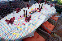 Set dinner table with rose petals. Summer Lake Inn. Oregon