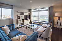 BNPS.co.uk (01202 558833)<br /> Picture: Savills/BNPS<br /> <br /> Pictured: The lounge with a view of Lord's Cricket Ground.<br /> <br /> HOWZAT for a view?<br /> <br /> A luxury flat that has grandstand views of Lords cricket ground has gone on the market for £2.72m.<br /> <br /> The two-bed apartment is on the 11th floor of a building next to the 'home of cricket'.<br /> <br /> From the balcony, there are uninterrupted views of the cricket pitch.