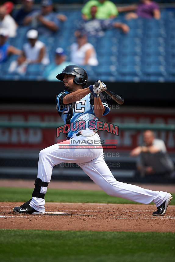 Syracuse Chiefs first baseman Mario Lisson (20) at bat during a game against the Pawtucket Red Sox on July 6, 2015 at NBT Bank Stadium in Syracuse, New York.  Syracuse defeated Pawtucket 3-2.  (Mike Janes/Four Seam Images)