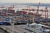 Containers at the Port of Tokyo, Japan. Industrial production in Japan plunged at the steepest pace in 55 years in the fourth quarter, and unemployment rose at the fastest rate in 41 years with exports in the third quarter were a record 13.9 per cent lower than in the previous quarter..19 Feb 2009
