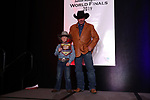 Tiber Jones during the bareback and saddle bronc back  number  presentation at the Junior World Finals Rodeo. Photo by Andy Watson. Written permission must be  provided  to use  this  photo  in any manner.